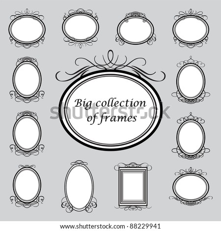 Big collection of of vintage frames. Vector template. - stock vector