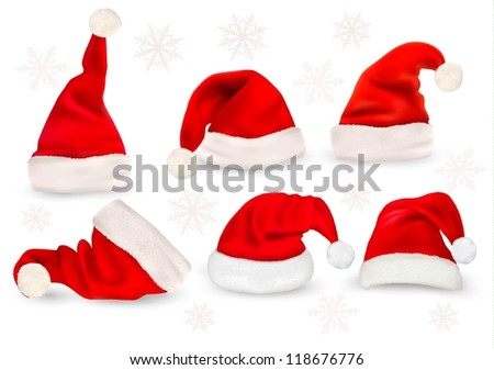 Big collection of red santa hats. Vector. - stock vector