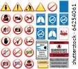 Big collection of restrictive and warning signs - stock vector