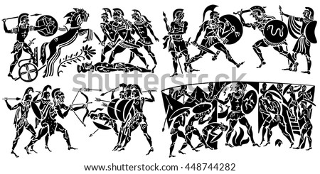 Big collection of silhouettes of Greeks on a white background. Episodes from the epic scenes of battle, conquest, military events. - stock vector