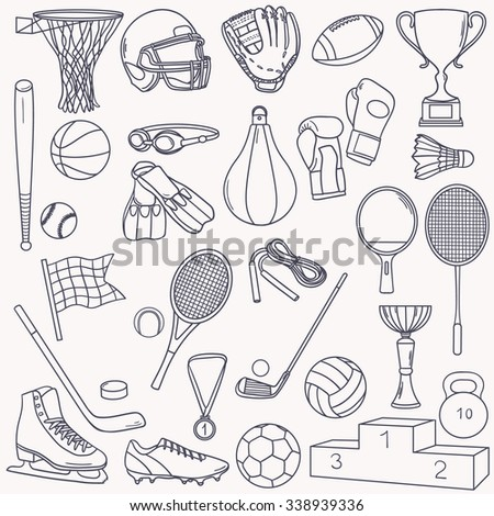 Big collection of sports equipment. Hand drawn icon set vector. Doodle background. Cartoon illustration - stock vector
