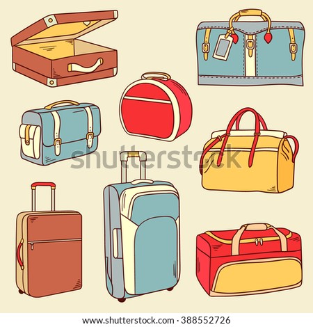 Big collection of suitcases, icons set vector. Background with colorful objects. Set of bags for travel