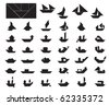 Big Collection of Tangram Boat and Ship Silhouettes - stock vector