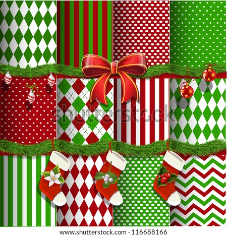Big collection of vector Christmas backgrounds and elements for design