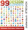 Big collection of vector icons. 99 design elements for your business artwork. - stock vector