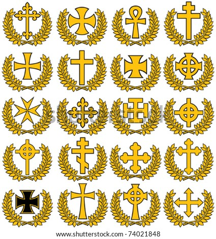 Big collection of vector isolated crosses - stock vector