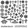 Big collection of vector isolated crosses (crosses set) - stock photo