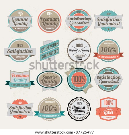 Big collection of  Vector Premium Quality Labels  with retro vintage styled design - stock vector