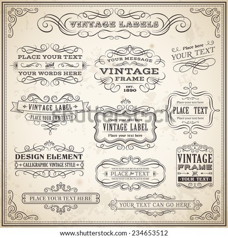 Big collection of Vintage Calligraphic Vector Labels and Banners, Vector file is fully layered for ease of use.