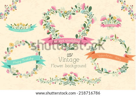 big collection set of circle shape and heart frame flower with ribbon invitation for greeting card. Vector illustration concept design - stock vector