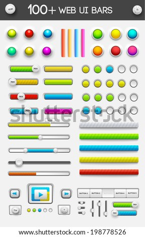 big collection set of web ui elements. vector illustration - stock vector