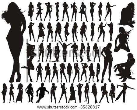 Big Collection - sexy Women / Girl vector silhouettes. 57 Long Legs young Girls. - stock vector