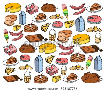 Big color food set on white background. Free hand drawn. Vector illustration. Cheese, meal, bread, cake, fish, milk, yougurt, ice cream, chocolate, eggs, pie. - stock vector