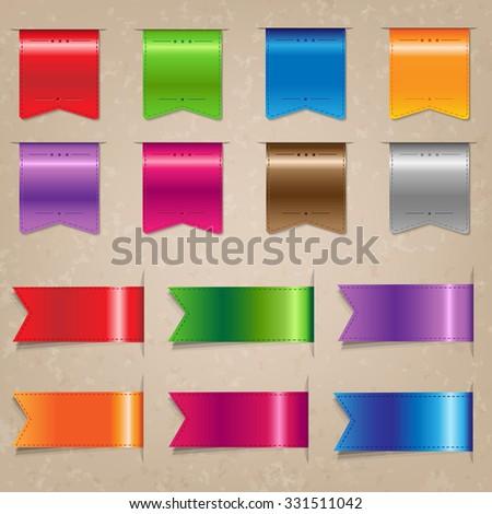 Big Colorful Ribbon Set, Vector Illustration - stock vector