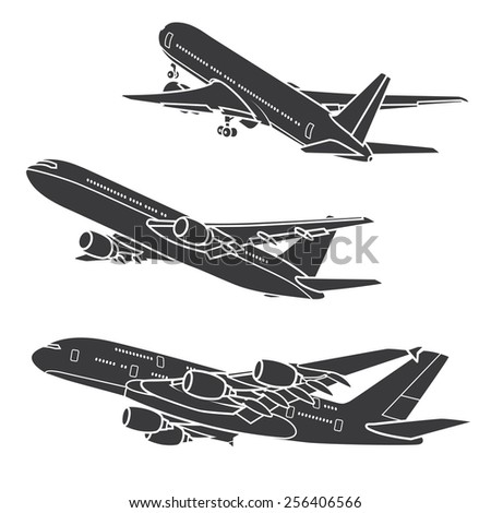 Big Commercial airplanes. Vector illustration. - stock vector