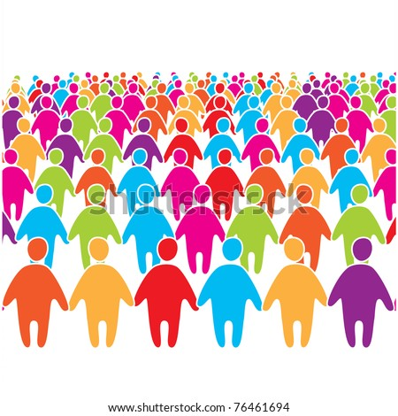 Big crowd of many colors social people group. - stock vector