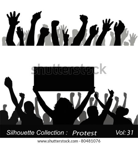 Big crowd protest - stock vector
