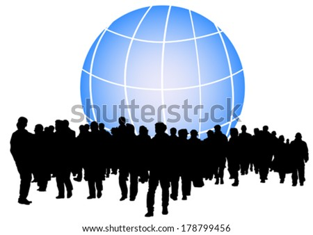Big crowds people and earth - stock vector