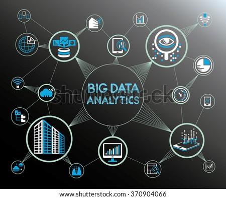 big data analytics concept background, big data icons - stock vector