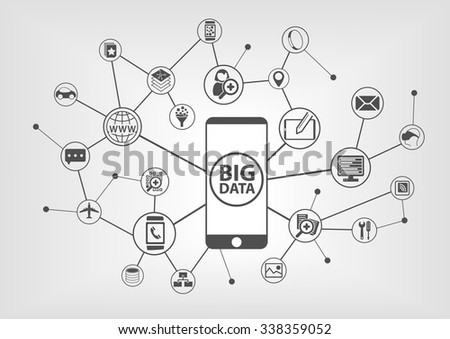Big data and mobility concept with connected devices like smart phone. IT symbols on grey background. - stock vector