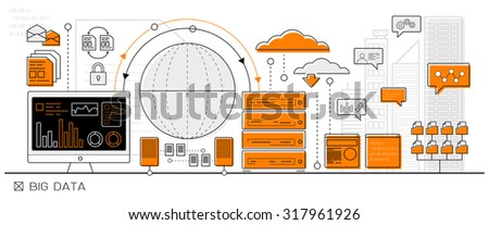 big data concept, cloud computing info graphic business line icon - flat design vector - stock vector