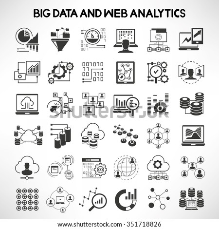 big data, data analytics icons, data analysis, web analytics icons and network icons  - stock vector