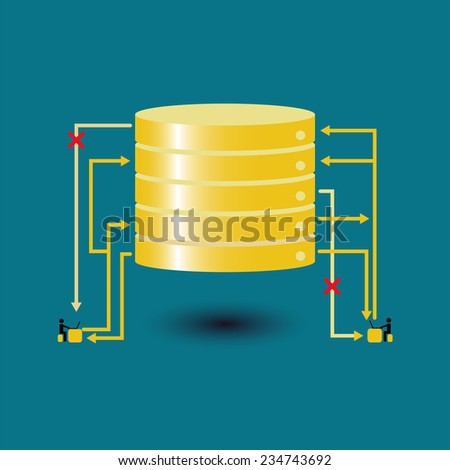 Big data database query failed - concept ideas with vintage color - stock vector