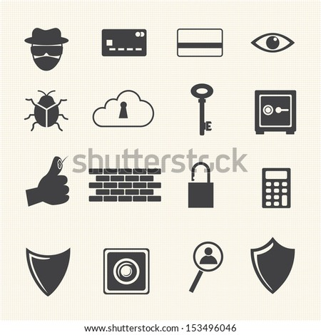 Big Data icon, Computer criminal icons set. - stock vector