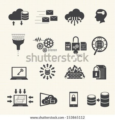 Big data icons set - stock vector