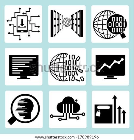 big data icons set, data analytics icons - stock vector
