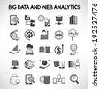 big data icons set, web analytics icons set - stock vector