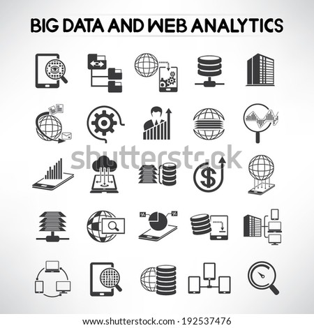 big data icons set, web analytics icons set - stock vector