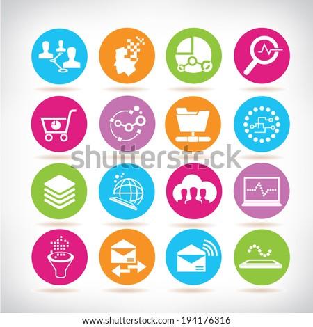 big data icons set, web analytics icons set, circle buttons - stock vector