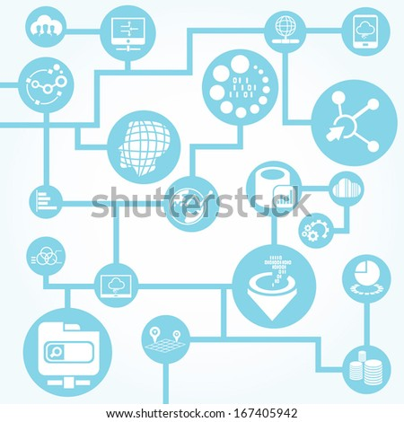 big data network background, information technology concept - stock vector