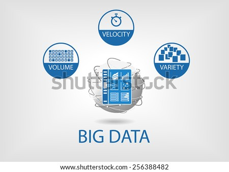 Big data volume, velocity and variety with analytics dashboard. Flat design vector illustration in blue and grey with flat design and business intelligence universe represented as globe. - stock vector