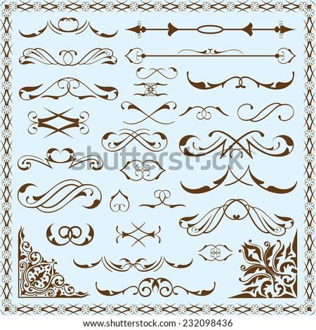 Big decorative element design set on blue - stock vector