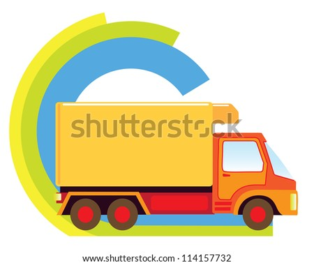 Big delivery truck in a delivery sign - stock vector