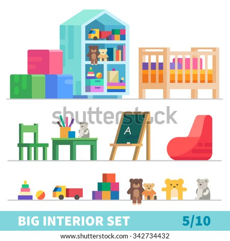 Big detailed Interior set. Children game room: toys, children's bed, chalk board, bag chair. Flat vector illustration set.  - stock vector