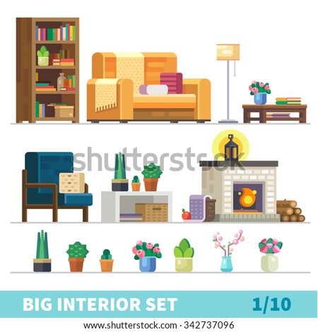 Big detailed Interior set. Cozy living room: nice couch, lamp, coffee table, cactus, fireplace, firewood, flower vases,  bookshelves, armchair. Flat vector stock illustration.  - stock vector