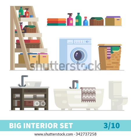Big Detailed Interior Set Functional Comfortable Stock Vector - Cleaning stuff for bathroom