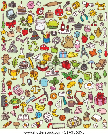 Big Doodle Icons Set : collection of numerous small hand-drawn illustrations (vignette) : No. 1