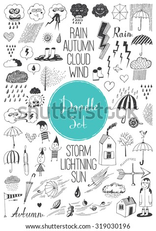 Big doodle set - Autumn - stock vector