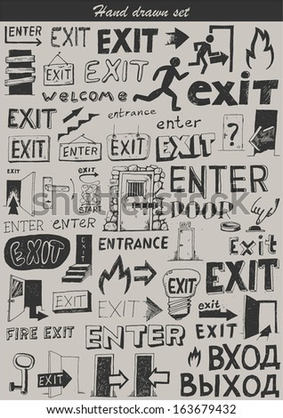 Big doodle set - Enter - stock vector