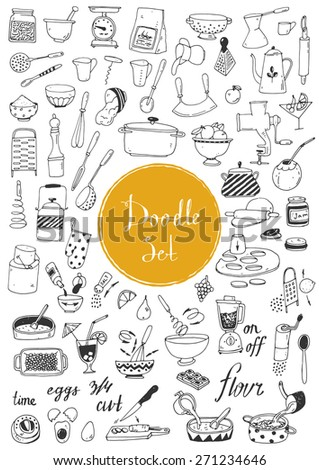 Big doodle set - Kitchen tools, cooking food - stock vector