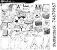 big doodle set - paper - stock vector