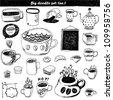 Big doodle set - tea - stock vector