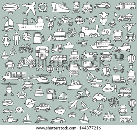 Big doodled transportation icons collection in black-and-white. Small hand-drawn illustrations are isolated (group) and in eps8 vector mode. - stock vector