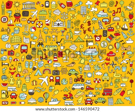 Big doodled travel and tourism icons collection in colours. Small hand-drawn illustrations are isolated (group) and in eps8 vector mode. - stock vector