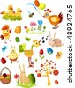 big easter set new - stock vector