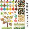 Big easter set with traditional eggs. Traditional detailed eggs, flowers,birds and rabbits. Contains 18 Easter eggs, one stylized tree, 3 seamless patterns and 2 seamless borders. - stock vector